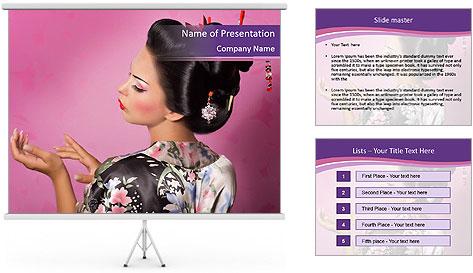 Japanese geisha PowerPoint Template