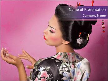 Japanese geisha PowerPoint Templates - Slide 1