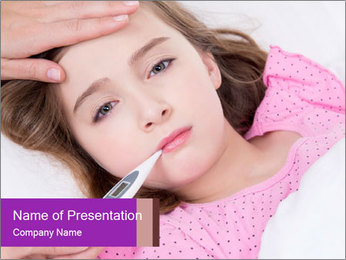 Cute little ill girl with a thermometer PowerPoint Templates - Slide 1