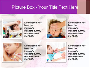Cute little ill girl with a thermometer PowerPoint Templates - Slide 14