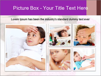 Cute little ill girl with a thermometer PowerPoint Templates - Slide 19