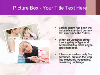 Cute little ill girl with a thermometer PowerPoint Templates - Slide 20