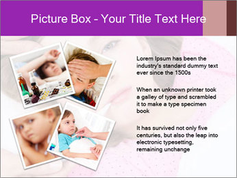 Cute little ill girl with a thermometer PowerPoint Templates - Slide 23