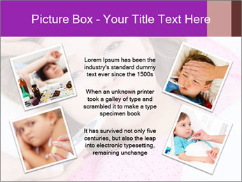 Cute little ill girl with a thermometer PowerPoint Templates - Slide 24