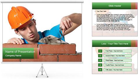 A bricklayer putting bricks PowerPoint Template
