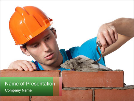 A bricklayer putting bricks PowerPoint Template