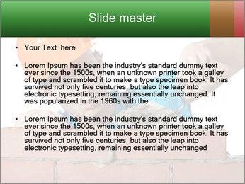 A bricklayer putting bricks PowerPoint Template - Slide 2