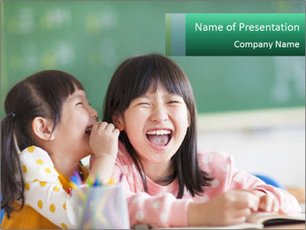 Laughing little girls PowerPoint Template