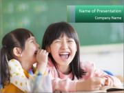 Laughing little girls PowerPoint Templates