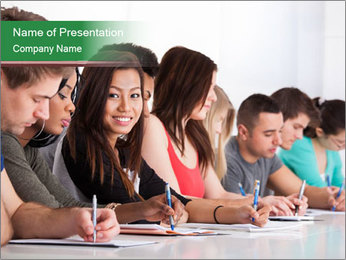 Portrait of smiling college student PowerPoint Template - Slide 1