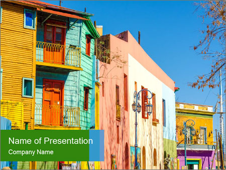 Bright colors of Caminito street PowerPoint Template