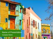 Bright colors of Caminito street PowerPoint Templates