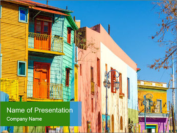 Bright colors of Caminito street PowerPoint Template - Slide 1