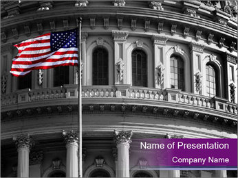 American Governmental Building PowerPoint Template - Slide 1