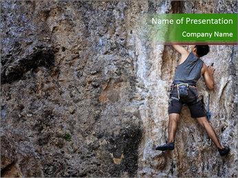 Hiker On Rock PowerPoint Templates - Slide 1