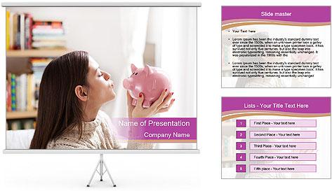Woman Kisses Piggy Bank PowerPoint Template