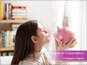 Woman Kisses Piggy Bank PowerPoint Template