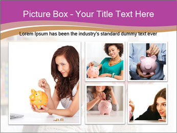 Woman Kisses Piggy Bank PowerPoint Template - Slide 19