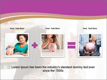Woman Kisses Piggy Bank PowerPoint Template - Slide 22