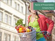 Woman Goes Shopping by Bike PowerPoint Templates