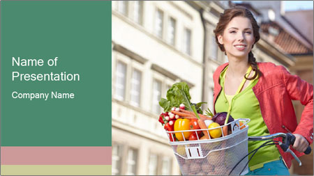 Woman Goes Shopping by Bike PowerPoint Template