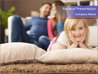 Parents With Daughter PowerPoint Template - Slide 1