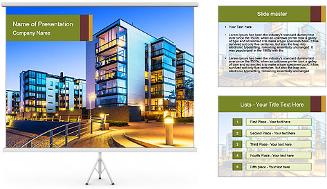 Urban Houses PowerPoint Template