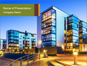 Urban Houses PowerPoint Template - Slide 1