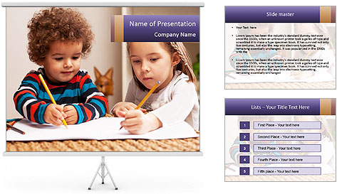 Kids Painting Together PowerPoint Template