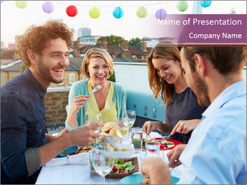 Friends Having Lunch Together PowerPoint Template