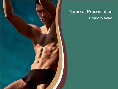 Man With Strong Abs PowerPoint Templates