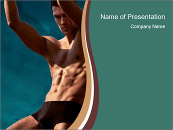 Man With Strong Abs PowerPoint Templates - Slide 1