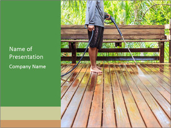 Man Cleans Wooden Terrace PowerPoint Template - Slide 1