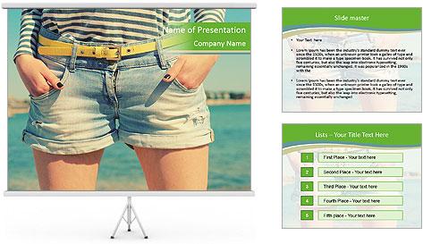 Stylish denim shorts PowerPoint Template
