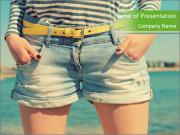 Stylish denim shorts PowerPoint Template