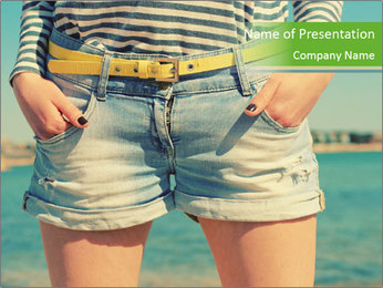 Stylish denim shorts PowerPoint Template - Slide 1