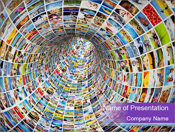 Tunnel of media PowerPoint Template