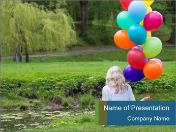 Woman with colorful balloons PowerPoint Template - Slide 1