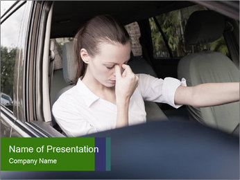 Stressed Woman In Car PowerPoint Template - Slide 1