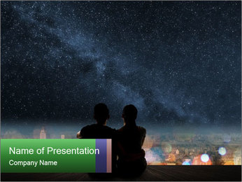Couple Watches Night Sky PowerPoint Template