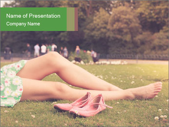 Woman Rests On Grass PowerPoint Template - Slide 1