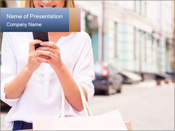 Woman Writes Message PowerPoint Template - Slide 1