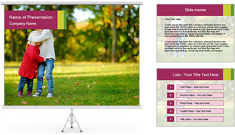 Sisters In City Park PowerPoint Template
