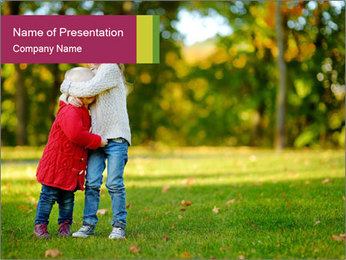 Sisters In City Park PowerPoint Template - Slide 1
