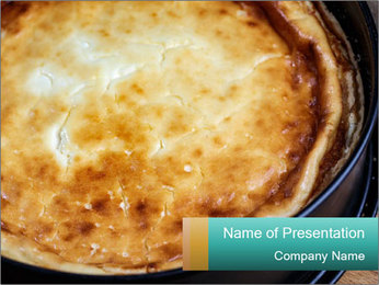 Warm home-made cheesecake PowerPoint Template - Slide 1
