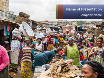 Ghanaian people at the market PowerPoint Template - Slide 1