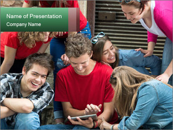 Group of cool teenagers PowerPoint Template - Slide 1