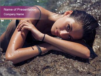 Carefree beautiful brunette PowerPoint Template - Slide 1