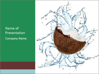 Coconuts with water PowerPoint Template