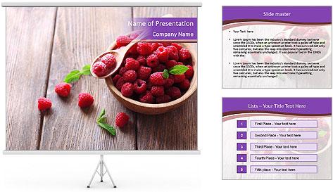 Ripe sweet raspberries PowerPoint Template